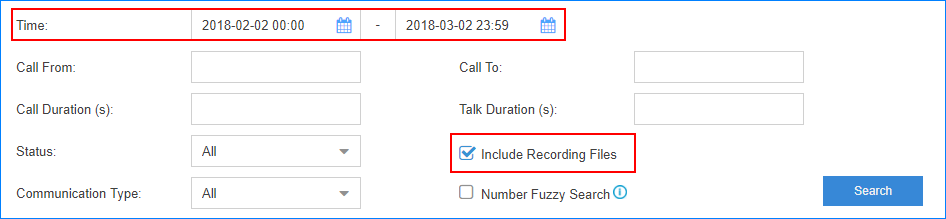 Search-CDR-and-One-Touch-Recording-in2pbx