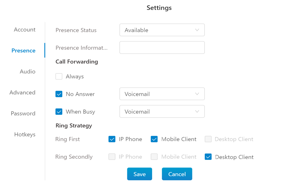 in2pbx settings menu